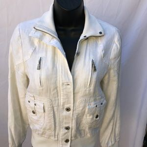 Ted Baker Ivory Linen Biker Jacket Size Small